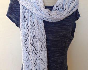 "Summer Scarf lace Garments-lace Shawl 145 cm/35 cm-Alpaca/silk-""Ice Blue""-choice of 14 colors"