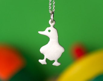 Duck Necklace Bird Necklace Small Gold Duck Pendant Sterling Silver Kids Teen Jewelry Farm Animal Bird Pendant Rose Duck Charm Birthday gift