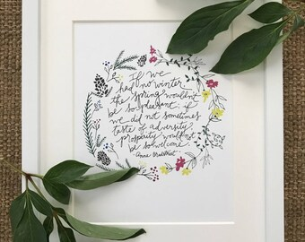 Anne Bradstreet quote hand lettered and hand drawn art print, home art prints, office prints, hand-lettered quotes for home