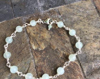 Sterling Silver and Jade Bracelet
