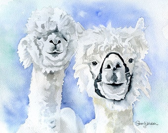 Alpacas Watercolor Painting Giclee Print Reproduction 10 x 8 - Alpaca Art - 11 x 8.5