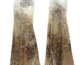 paisley Brown Beautiful Sublimation Maxi Long Skirt Sizes Small/Medium/Large/XL/1XL/2XL/3XL