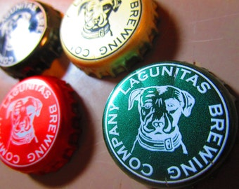 Set of 5 Lagunitas Brewing Company recycled bottlecap magnets