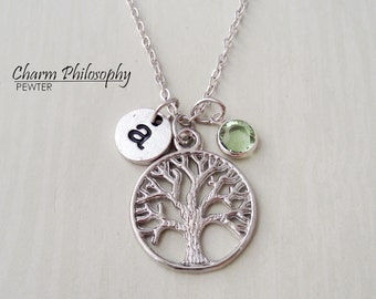 Tree of Life Necklace - Tree Necklace - Monogram Personalized Initial and Birthstone
