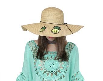 "Embroidered Applique Floppy Hat 6.5"" Wide Brim Sun Hat Beach Hat Ice Cream Watermelon Pineapple Cute flamingo fruits"