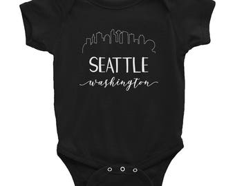 Downtown Seattle Washington Baby Outfit - Downtown Skyline Space Needle Calligraphy Toddler Jumper - Pacific Northwest Tacoma Bellevue
