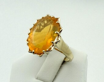 Stunning Natural Brazilian Yellow Opal In A Vintage 10K Yellow Gold Ring FREE SHIPPING! #YOPAL-GR5
