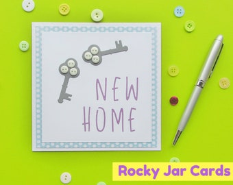 New Home with Key Button Card, New Home Card, Moving Card, Button Card, Moving Home Card, Greeting Card, Gift Card
