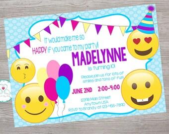Emoji emoticon  inspired birthday party invitation. printable. digital download