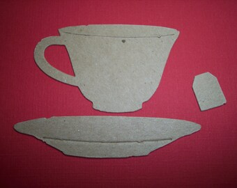 Tea Coffee Cups Die Cut Set of 8