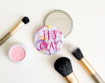 It's Ok - Cactus Pocket Mirror - Compact Mirror - Purse Mirror - Motivational Mirror - Travel Mirror - Bridesmaid Gift - Cactus Mirror