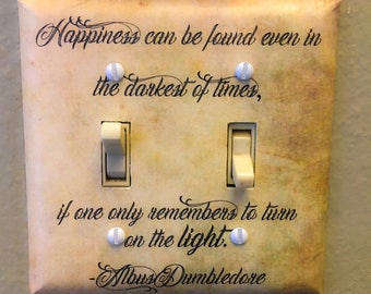 Happiness Quote Double Light Switch Plate