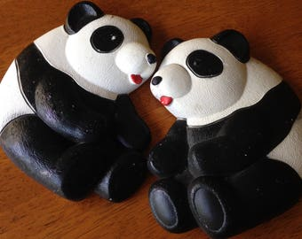 Vintage Chalk Ware Pandas Wall Hangings 2