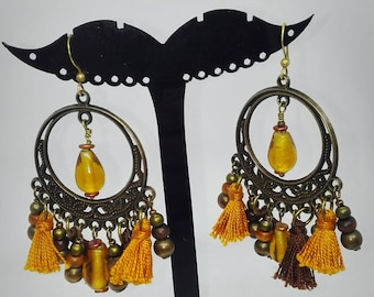 Dangle earring style Bohemian mustard and antique bronze