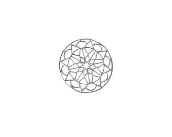 Silver & Gold MANDALA STAR Pendant/Interpiece,925 Sterling Silver Pendant,Sacred Jewelry,Minimalist Jewelry,Geometric Pendant,Gold Mandala