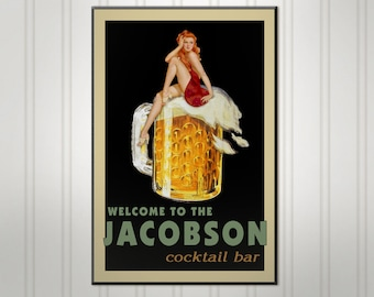 Personalized Pin Up Beer Sign, Man Cave Bar Sign, Personalized Sign, Personalized Pub Sign