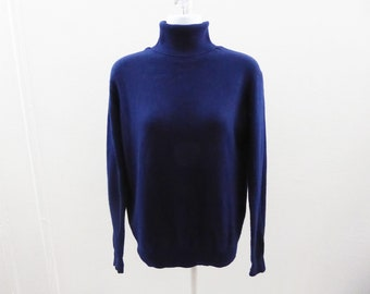 100% Cashmere Sweater Size M Navy Blue Turtleneck Womens 40 Chest Jumper
