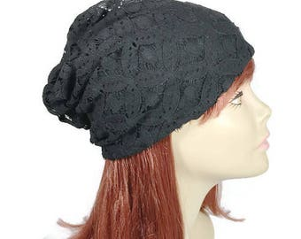 FREE SHIPPING/Custom Size/Lined Black Lace Slouchy Beanie All Seasons Lace Slouchy Beanie Black Lace Slouch Hat for Hair Loss Chemo Hat Cap