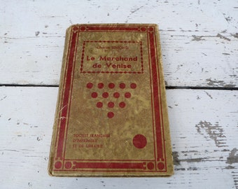 Vintage Antique 1930s decorative French book  Charles Simond Le Marchand de Venise