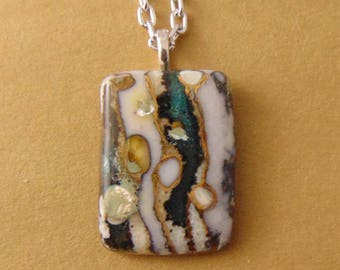 Fused Glass Pendant/Necklace Blue and Browns with Off White