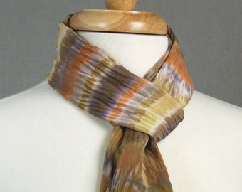 Boho Stripe Scarf Hand Dyed Shibori Silk Crepe Autumn Brown Pumpkin Toffee Gold