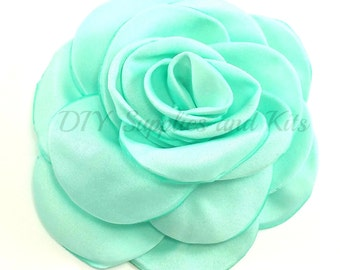 "Aqua green - 3"" Rose petal flower - Aqua green flower"