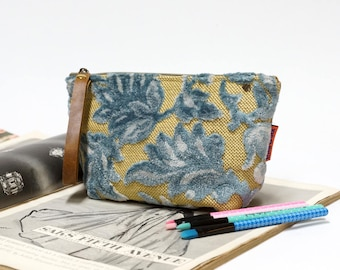 Blue Velvet Makeup Bag, cosmetic pouch, tapestry bag, vintage fabric toiletry bag, canvas bag, gift for her, handmade by EllaOsix