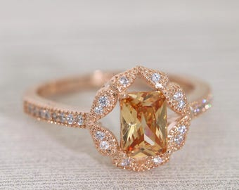Vintage Rose Gold Floral Champagne CZ Ring /Art Deco Engagement Ring/Dainty Ring/Promise Ring #1001