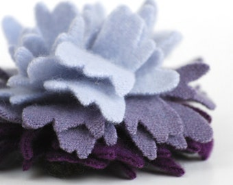 Cashmere Variegated Purple Peony - Recycled Wool Flower Pin