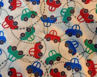 PUL fabric, diaper fabric, polyurethane laminate fabric,  PUL fabric cars going around print, 1 yard.