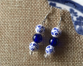 Asian Floral Earrings Cobalt Blue and White Porcelain Beaded by RICHARME