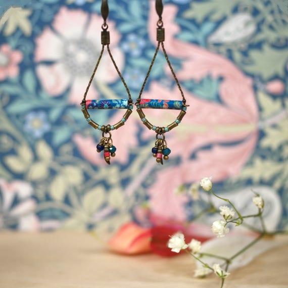 Drop pendant earrings with handmade japanese patterns 'Dionee'