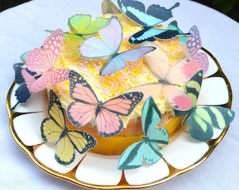 Edible Wafer Rice Paper Butterflies Mix PASTEL Rainbow Colours 3D Butterfly Decor, Summer Wedding Cake Decorations Baking Cookie Toppers RTD