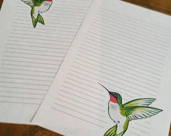 Hummingbird Stationery ~ 10 sheets & 5 Envelopes