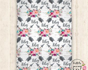 Personalized Baby Blanket - Throw Blanket -  Arrow Blanket - Floral Blanket - Personalized Blanket - Name Blanket - Baby Blanket - Minky