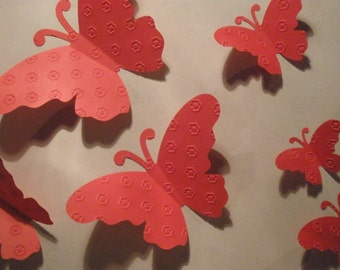 20 Beautiful Red Butterflies Embellished/Embossed w/Cute Little Flowers ,3D,Art, Paper, Wall Decor,Girl Room, Nursery, Wedding, Baby Shower