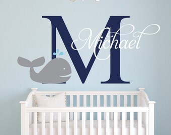 Name Wall Decal - Whale Wall Decal - Nautical Baby Room Decor - Custom Name Wall Decal - Nursery Wall Decals Vinyl