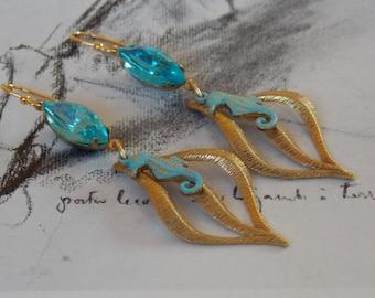 Seahorse Rhinestone Dangle Earrings, Vintage Turquoise Glass Rhinestones, Vintage Brass Swirl Drops, Spring Fashion, Art Nouveau