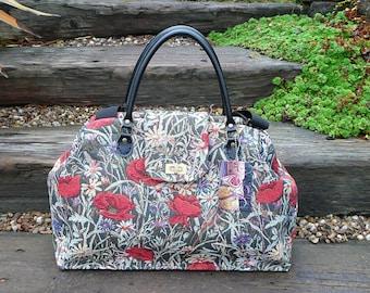 Carpet Bag, Bespoke Bag, Custom Order Bag, Weekender Bag, Mary Poppins Bag, Tapestry Bag,  Poppy Bag, Luggage and Travel, Overnight Bags