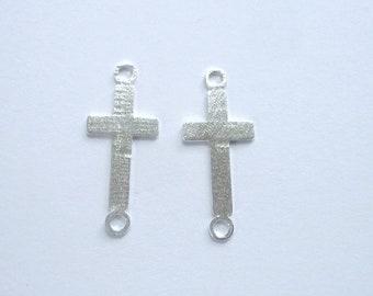 2 pcs sterling silver sideway cross connector, link(24x10mm)
