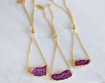Pink Geode Adjustable Bracelet