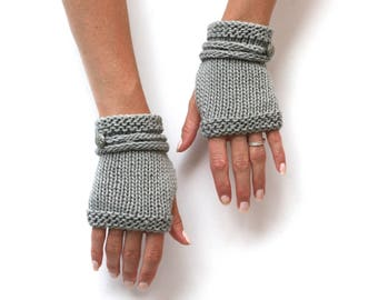 MORE COLORS Strappy Cotton Mitts - Hand Knit Fingerless Gloves - Hand Warmers - Unisex Gloves - Cotton Gloves - Button Gloves - Gauntlets
