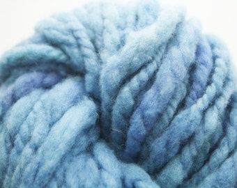 Handspun Merino wool - variegated blues - chunky weight, thick and thin