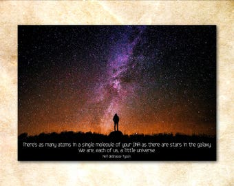 """Neil deGrasse Tyson """"We are, each of us, a little universe"""" Inspirational Quote Poster - astrophysics space inspirational art print"""