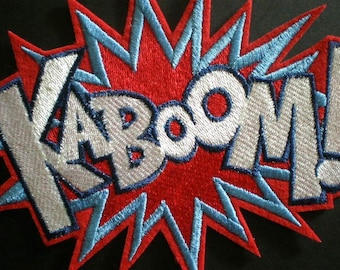Large Embroidered Super Hero KABOOM Iron On or Sew On Patch, Applique for Girls Too, Word Patch