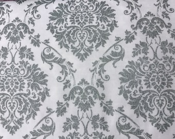Shimmer silver and white damask curtsin valance