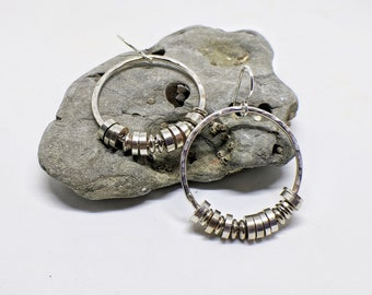 Lg Sterling Silver Hammered Hoops with Silver Heishi Beads // Handmade forged silver earrings