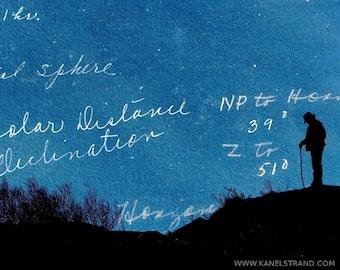 Fantasy art, surreal photo print, dreamscapes, night sky, man silhouette, 8x10