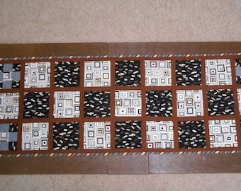 Quilted Bed Runner Quilted Brown Black & Grey Bed Runner Patchwork Bed Runner