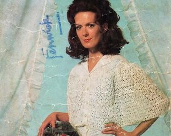 """womens crochet bedjacket pattern crochet pattern pdf download ladies crochet bed jacket 32-42"""" 3ply pdf instant download"""